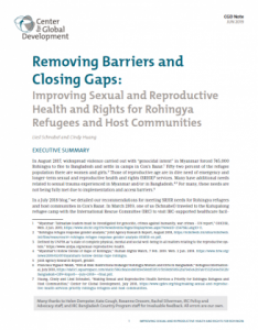 Cover: Removing Barriers and Closing Gaps: Improving Sexual and Reproductive Health and Rights for Rohingya Refugees and Host Communities